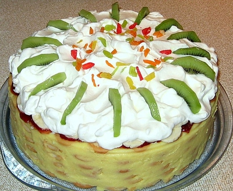 Вкусный банановый торт без выпечки!