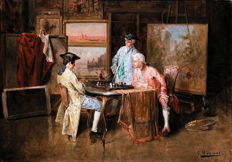 Шахматное пари в живописи!