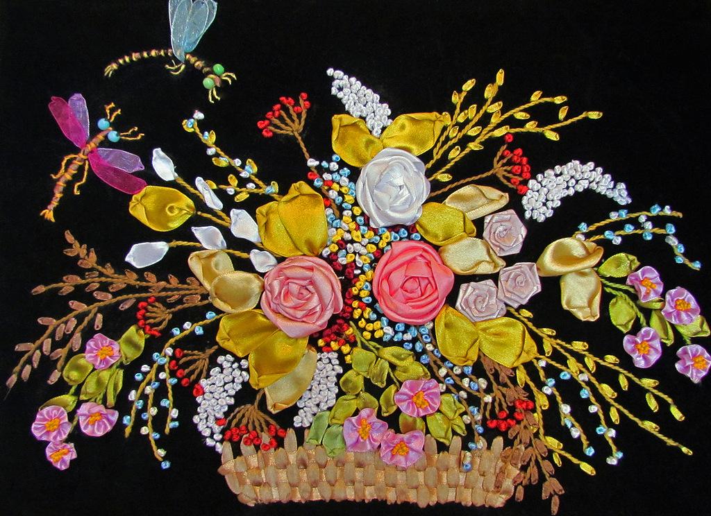 Вышивка лентами и работы мастериц с выставки творчества