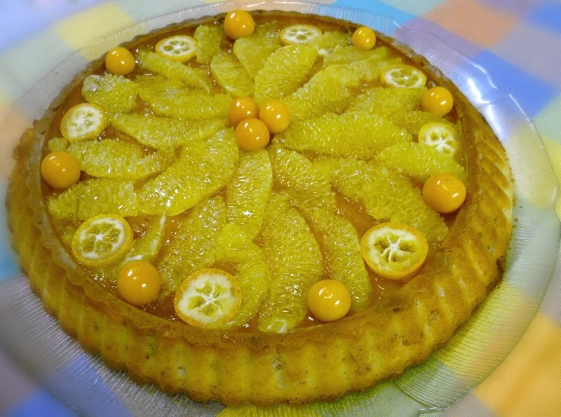 Ароматный творожный пирог с апельсинами