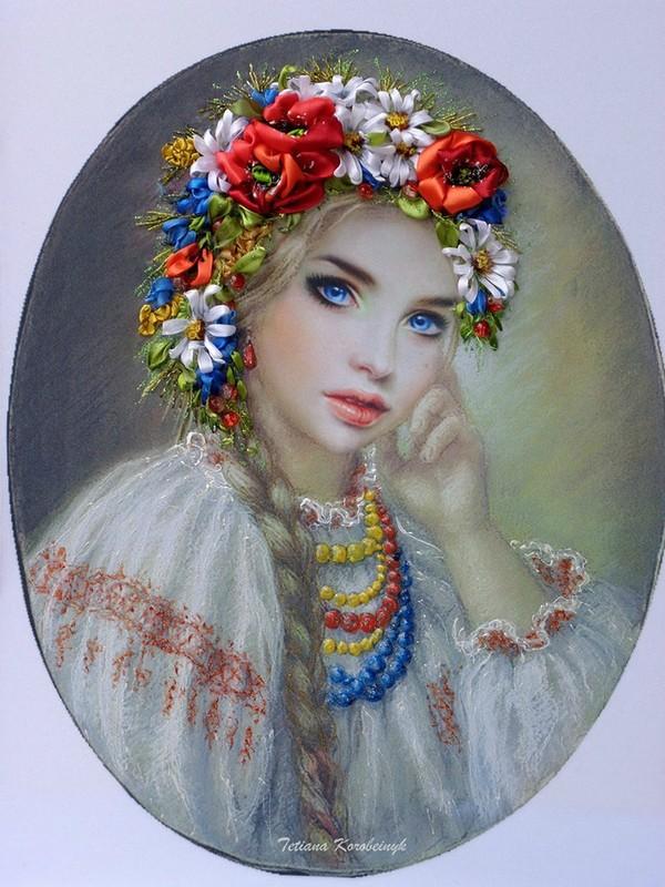 Потрясающие картины Татьяны Коробейник, вышитые лентами