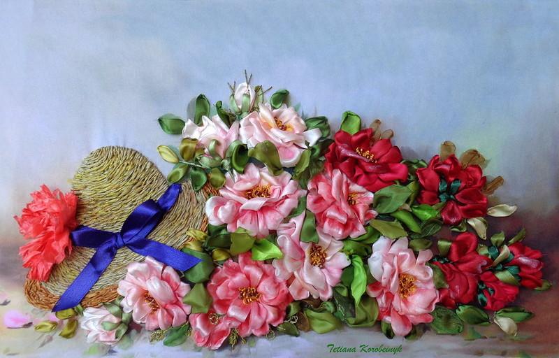 Вышитые лентами картины Татьяны Коробейник