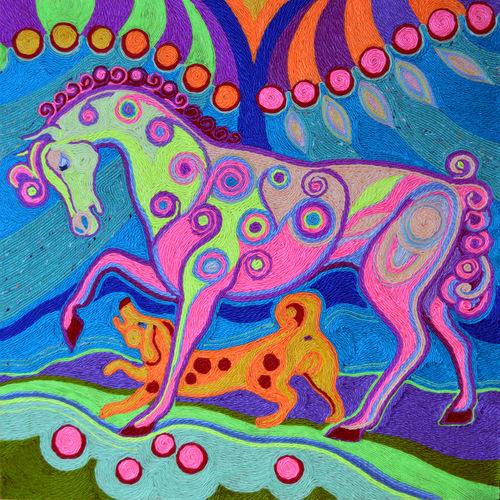 Ниткография. Конь в яблоках