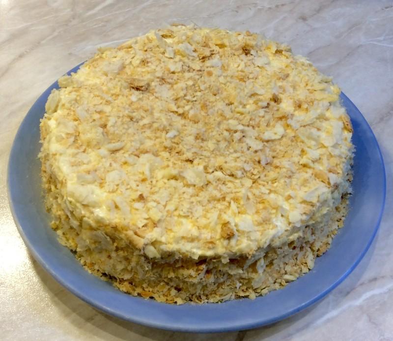 Торт Наполеон из слоеного теста для сластен