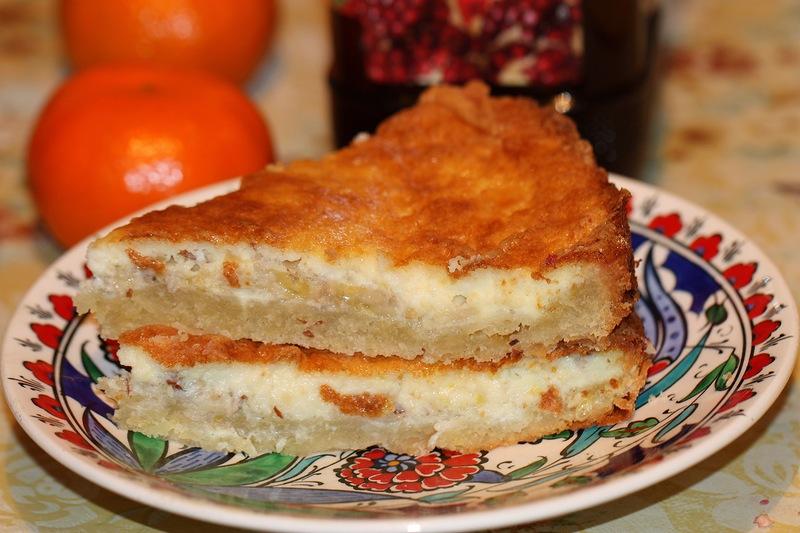 Пирог творожный с бананом