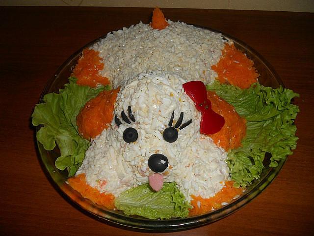 Новогодний салат «Собачка» Празднично, красиво, вкусно!
